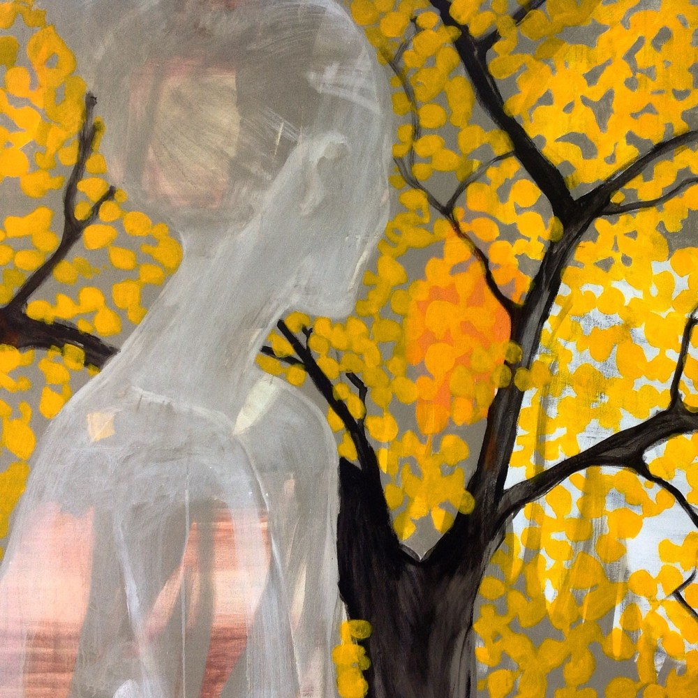 Gule blader II, Acryl på lerret,100 x 120 cm