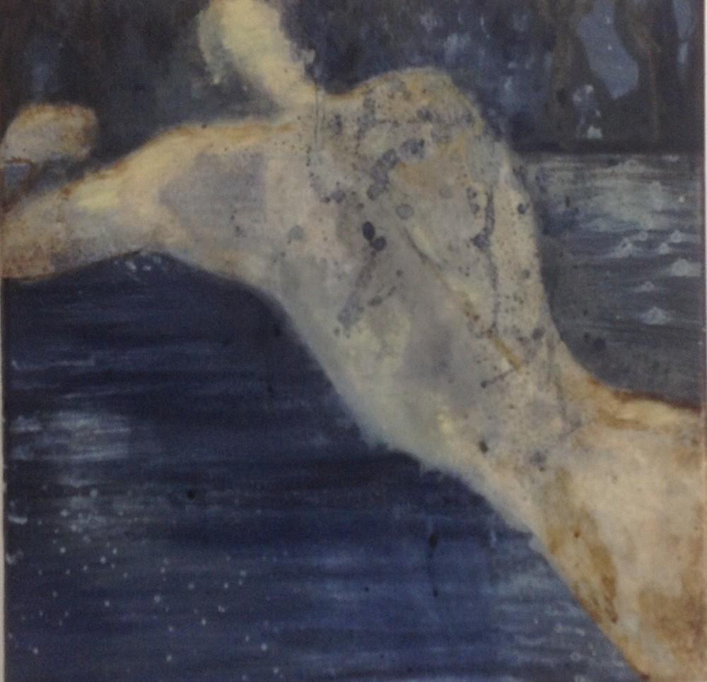 Nattbad, Acryl på lerret, 30 x 30 - solgt