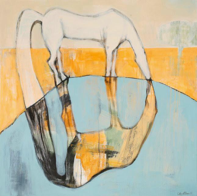 Hesten som speiler seg, Acryl på lerret, 100 x 100