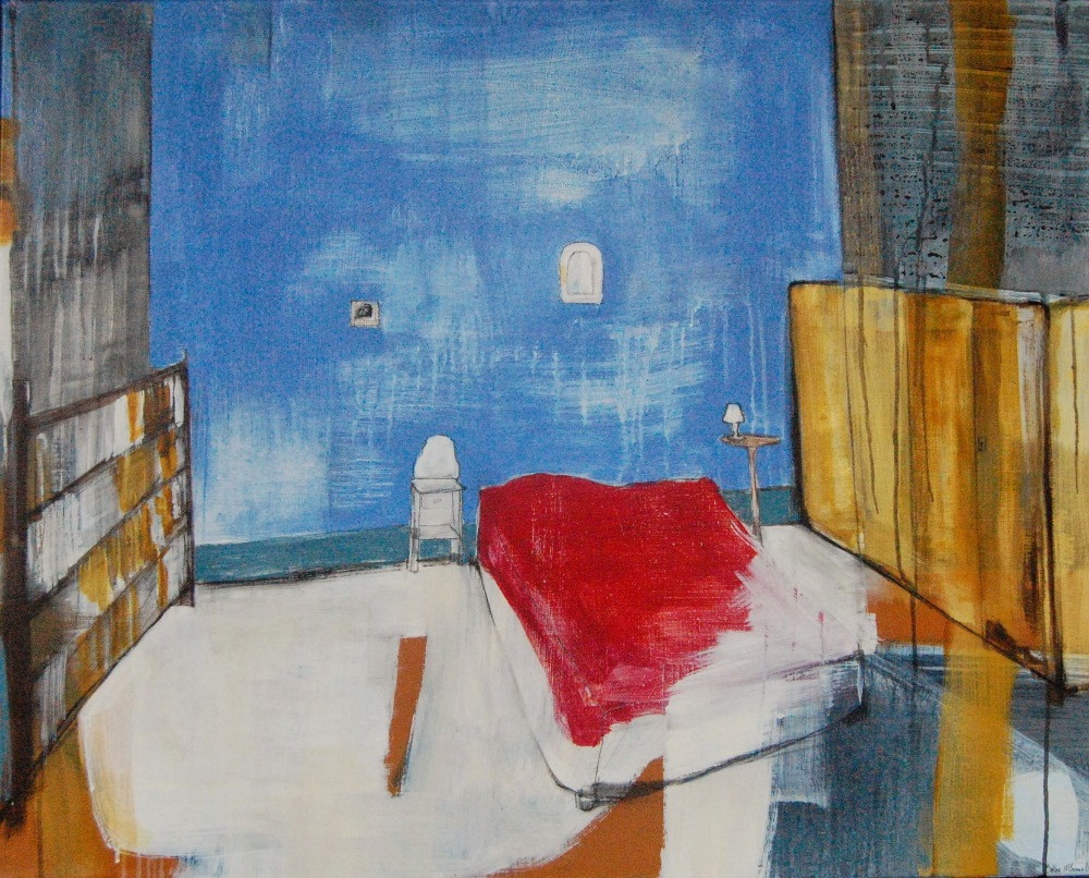 Hemingways soverom, Acryl på lerret, 120 x 100 cm