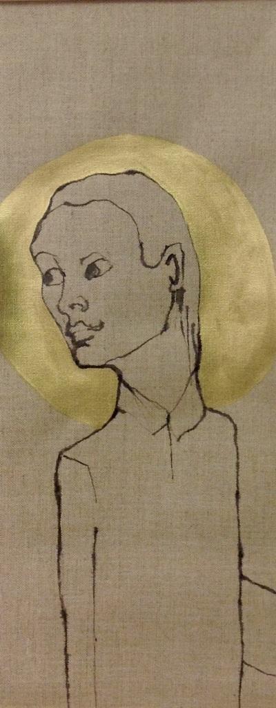 Be your own saint - Tusj og akryl på lerret,  26x64 cm - kr 3500.-