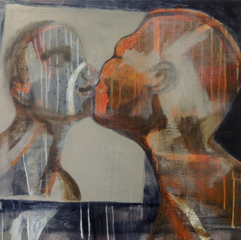 Kysset, Acryl på lerret, 50 x 60 - solgt
