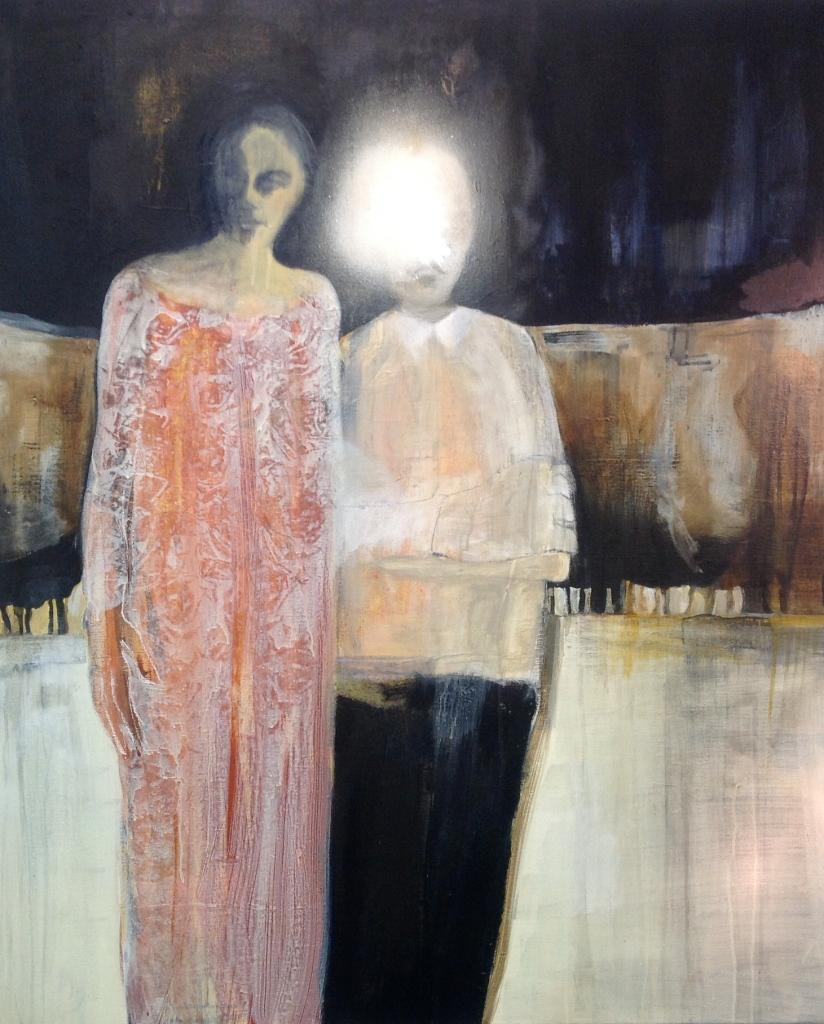 Nå står liksom jeg her ved siden av deg, Acryl på lerret, 120 x 100 cm - solgt